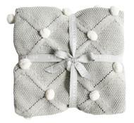 Pom Pom Blanket Grey 100cm x 70cm