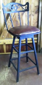 Swivel Bar Stool with Leather Seat
