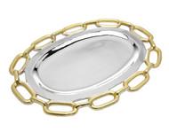 Godinger Gold Chain Border Oval Tray (82736)
