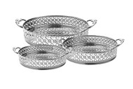 Silver Mirror Tray with Handles (Set of 3) (MSET33S)