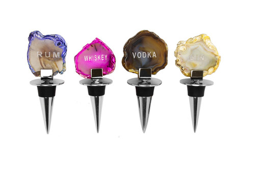 Bottle Stoppers w/ Agate Stone (Set of 4) (ASB689)