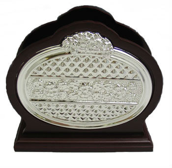 Wood & Silver Plated Oval Napkin Holder (1617)