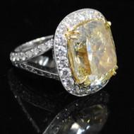 Platinum 14ct Diamond Ring Fancy Yellow GIA Cushion Cut Beautiful 15.1g