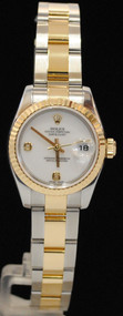 ROLEX Ladies 18kt Gold & SS DateJust White Diamond Factory Dial 179173 Oyster