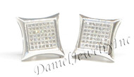 Mens Ladies Earring 10k White Gold White Diamond .38ct Pave Stud Square Custom