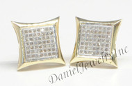 Mens Ladies Earring 10k Yellow Gold White Diamond .37ct Pave Stud Square Custom