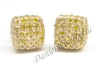 Mens Ladies Earring 10k Yellow Gold Canary Diamond .55ct Pave Stud Square Custom