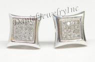 Mens Ladies Earring 10k White Gold White Diamond .13ct Pave Stud Square Custom