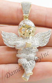 "New Angel Ice Yellow Gold 2 1/2"" White Diamond 2.75ct 10k Large Pendant Charm"