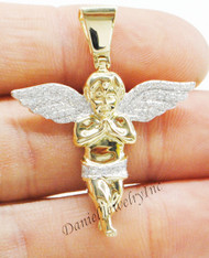 "New Angel Semi Ice Yellow Gold 1 5/8"" White Diamond .37ct 10k Small Pendant Mini Charm"