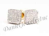Mens Ladies Earring 10k Yellow Gold White Diamond .20ct Pave Stud Square Custom