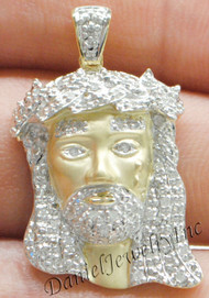 "New Jesus Piece Head Face Yellow Gold 1 1/4"" White Diamond .30ct 10k Custom"