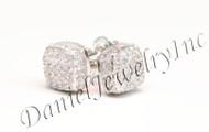 Mens Ladies Earring 10k White Gold White Diamond .55ct Pave Stud Square Custom