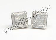 Mens Ladies Earring 10k White Gold White Diamond .35ct Pave Stud Square Custom
