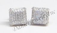 Mens Ladies Earring 10k Yellow Gold White Diamond .80ct Pave Stud Square Custom