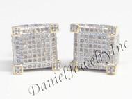 Mens Ladies Earring 10k Yellow Gold White Diamond .70ct Pave Stud Square Custom