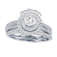 New Bridal Ladies 1.00ct Halo Diamond Wedding Ring White Gold 14k