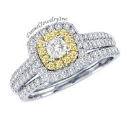 New Bridal Ladies 1.01ct Halo White/Yellow Diamond Wedding Ring White Gold 14k