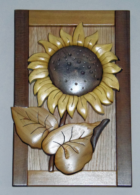 Intarsia Sunflower Wall Plaque Set Colorful Impressions