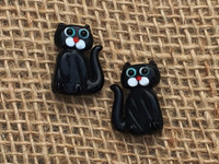Black Kitty Cat Glass Beads