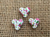 Daisy Heart Lampwork Glass Beads