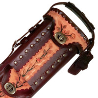 Instroke Saddle Pool Cue Case | Flower | 3x5 | Detail