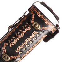 Instroke Saddle Pool Cue Case - Black/Handpainted/D01 - 3x7 - Top