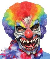 Funny Bones Killer Crazy Circus Clown Rainbow Hair Halloween Costume Mask