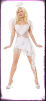 Sexy Playboy Hef's Angel White Dress w/ Accessories Halloween Costume