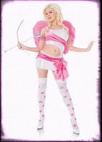 Sexy Playboy Cupid Angel White & Pink Dress w/ Accessories Halloween Costume