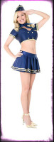Sexy Playboy Classic Stewardess Pinup Dress w/ Accessories Halloween Costume