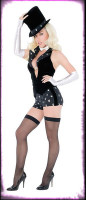 Gothic Sexy Playboy Magician Shorts Suit w/ Accessories Halloween Costume