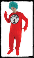 Deluxe Adult Whimsical Dr Seuss Thing 1 or 2 Halloween Complete Costume Suit