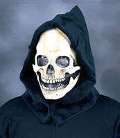 Hooded Skull Reaper Skeleton Moving Mouth Comfort Halloween Costume Mask