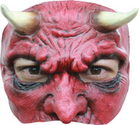 Red Devil Demon Face Latex Halloween Costume Half Mask