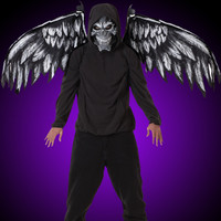 Gothic Fallen Angel Dark Mask & Wings Halloween Costume Accessories