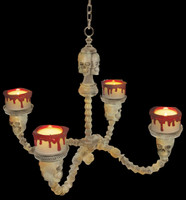 "15"" Bone Color Bloody Rimmed Lighted Chandelier Skull Halloween Prop"