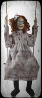 Animated Swinging  Haunted Decrepit Doll Speaks Creepy Phrases Halloween Prop