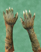 Brown Wolf Werewolf Gloves Monster Arms Hands Halloween Costume Accessories