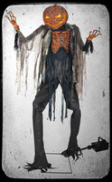7' Life Size Animated Scorched Scarecrow w/ Fog Jack O' Lantern Head Halloween Prop Decor