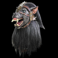 Warrior Wolf Werewolf Evil Dog Hell Hound Black Fanged Halloween Costume Mask