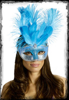 Victorian Carnival Turquois Feather Masquerade Ball Halloween Costume Face Mask