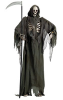 Animated Life Size Standing Reaper Skeleton Moving Mouth Halloween Prop Decor