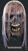 Sewage Rotted Zombie with Hair Halloween Mask Costume