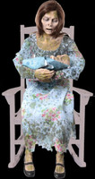 Life Size Animated Rocking Moldy Mommy Zombie w/ Baby Halloween Prop Decoration