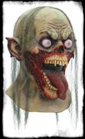 Gory Crazed Tongue Slasher Zombie Ripped Flesh Halloween Costume Mask