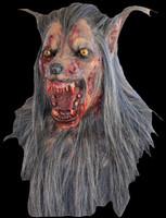 Extreme Brown Wolf Rotting Zombie Werewolf Life Like Halloween Costume Mask