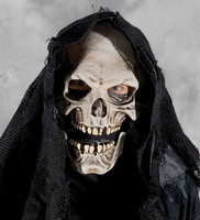 Burlap Hooded Skull Grim Reaper w/ Moving Mouth Halloween Costume Mask