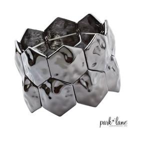 Hammered Haematite Elasticised Cuff Bracelet