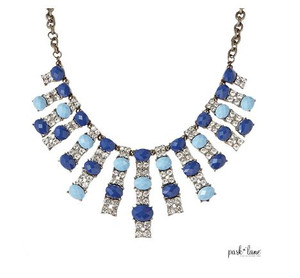 Necklace with 15 Rhinestone & Blue Oval Gem Bars on Curb Link Chain